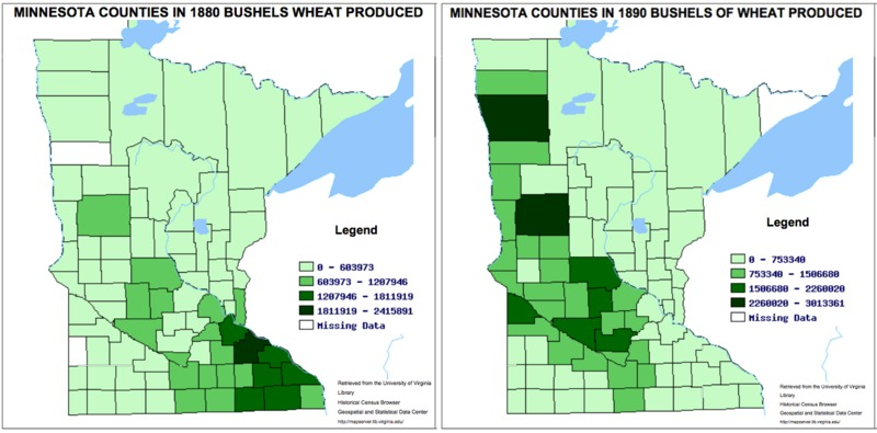 Wheat Production in 1880 and 1890
