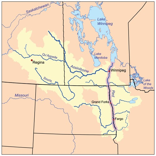 Map of the Red River