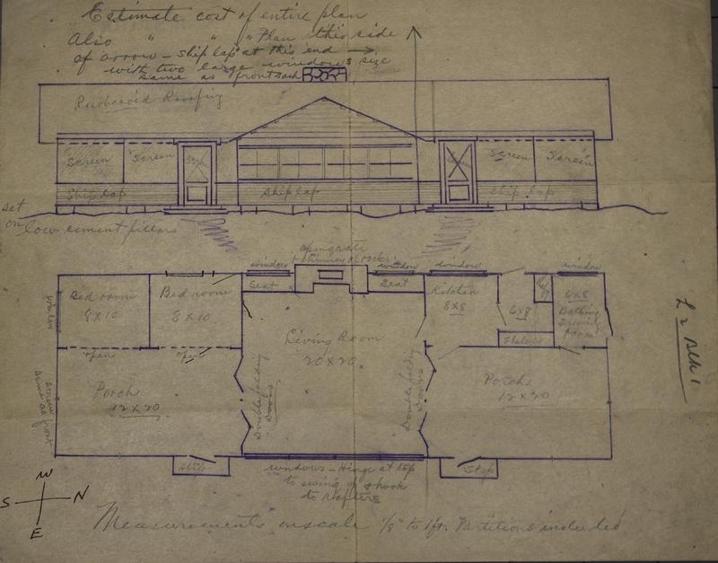 Blueprint of A.J. Starr Cottage