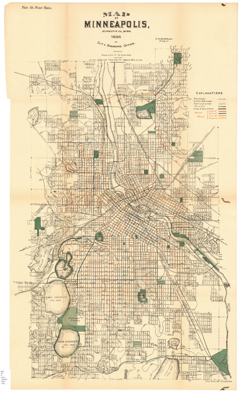 Map of Minneapolis 1896, City Commerce Office